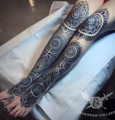 Another variation of a mandala tattoo but this one covers the entire front side of the calves and extends a bit to the knees and thighs. It could definitely work as part of your outfit.