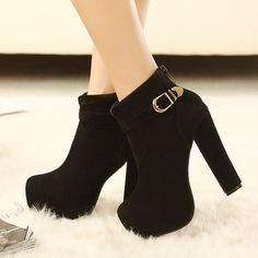 - Fashionable black buckle bootie ankle heel boots for the trendy woman - Stylish design sure to turn heads - Perfect for parties or social events - Made from PU - 9 cm heel height
