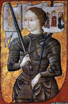 JEANNE D'ARC - Photo: Centre Historique des Archives Nationales, Paris Joan of Arc in a painting by an unknown artist, ca. 1485.