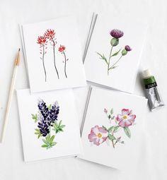 Western Wildflower Card Set, Set of 4 Blank Cards with Envelopes, Wildflower Art, Lupine, Wild Rose,