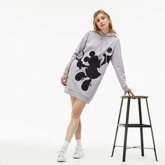 61b68d503 Lacoste Women's Hooded Disney Minnie Print Fleece Sweatshirt Dress Silhueta  Minnie, Vestido De Moletom,