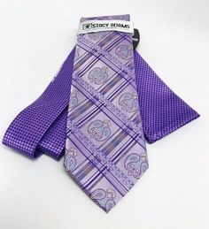 Stacy Adams Tie & Hanky Set Lilac Purple Yellow Teal Multi Design Microfiber Men #StacyAdams #TieHankySet