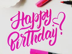 Dribbble - Happy birthday lettering! :) by Rita Konik
