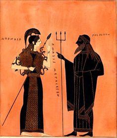 Athena and Poseidon by the Ancient Greek Amasis Painter, circa 540 BC