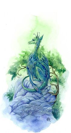 "I want one :) ""Dragon art print Emerald Green 5x7 limited"" by @meredithdillman, $12 #artprints #dragons #bestofetsy2"