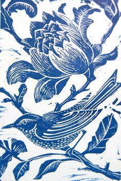 Blue Bird Original Hand Printed Linocut  by Amanda Colville