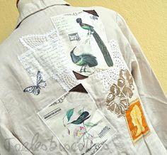 Veste en lin écru, très confortable et légère, taille 42, décorée façon JoeLesBiscottos Etsy, Jackets, Human Height