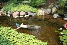 Children can snokel down the stream in a backyard water feature
