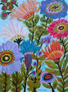 Original Flower Painting 12x16 by Karen by karenfieldsgallery, $65.00