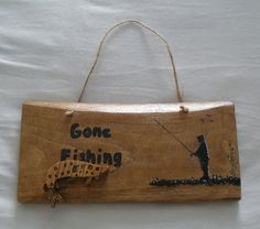 Gone fishing rustic sign with 3D wooden fish. by JuSucraftywood on Etsy