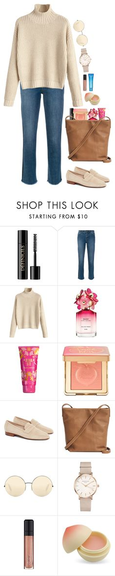 """""""Sand."""" by krys-imvu ❤ liked on Polyvore featuring Lancôme, Tory Burch, Marc Jacobs, Anna Sui, Too Faced Cosmetics, BAGGU, Victoria Beckham, ROSEFIELD, L'Oréal Paris and TONYMOLY"""