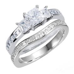 Princess Cut Euro Shank Design 3 Stone Channel Accented Wedding Ring Set in SOLID 14K Gold