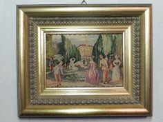 """Beautiful Fountain"" in Schönbrunn, Petit Point Embroidery Vienna, Framed 