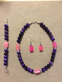 Purple Splatter beads dominate the Fiona Collection. Pink rectangular beads and Silver colored spacers add a wonderful contrast to this collection. Fiona A