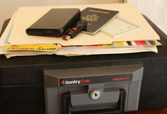 Be prepared for an emergency with a water- and fire-resistant safe for your personal belongings.