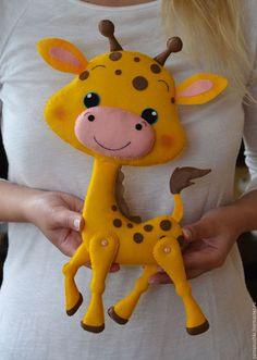 """Игрушки животные, ручной работы. Игрушка в кроватка """"Жирафик"""". Марья Ману. Ярмарка Мастеров. Мобиль, новорожденный"""