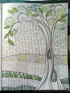 "Art Journal //  ""Growing Tree"" by Valerie Hebert (valsart on flickr) ""For the 3 Hearts Workshop, completed 6-1-11, with pen, pencil, colored pencil. Kept with black and white and green theme."""