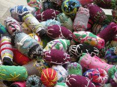 Bjørnemor...: Perler lavet af stof...