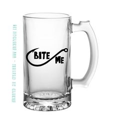 Bite Me Fish Hook Beer Mug - Man Cave - Fishermans Mug