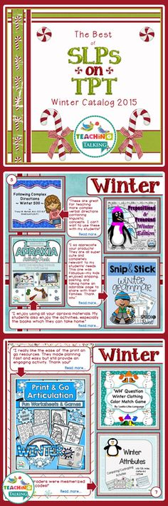 The Best of SLPs on TpT Winter 2015 Catalog. Tons of quality Speech Therapy resources all in one place!