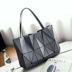 066ccf099b Aliexpress.com   Buy Lattice Geometry Baobao Beach Bag New Patchwork  Shoulder Bags   Women Handbags Sac Summer Triangle Stitching Laser Totes Bag  from ...