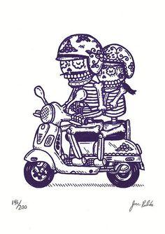 Scooter Calaveras Gocco Print by misnopalesart, via Flickr