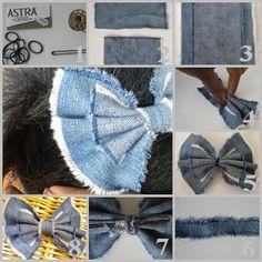 Deep Fried Stilettos: DIY: no sew denim bow Jean Crafts, Denim Crafts, Denim Ideas, Making Hair Bows, Diy Bow, Recycled Denim, Diy Hair Accessories, How To Make Bows, Diy Hairstyles