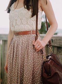 Lace top, belt, polka dot midi skirt and messenger bag.