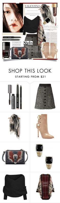 """#SheIn #BlackSweater #PlaidCardigan"" by prigaut ❤ liked on Polyvore featuring Nicole, Bobbi Brown Cosmetics, Dolce&Gabbana, Chanel, GUESS, American West and Lagos"