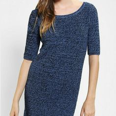 Urban Outfitters  Sweater Dress XS Medium sold. The stock photo is the same style dress but this yarn is a lighter shade of blue with white instead of black as shown in the last 3 photos. Super soft with a blend of fabrics.  High quality yarn and perfect for winte to spring  transition.  Bundle for discounts. I NOW HAVE THE DARK SWEATER IN STOCK PHOTO IN SIZE SMALL in another listing. Urban Outfitters Dresses