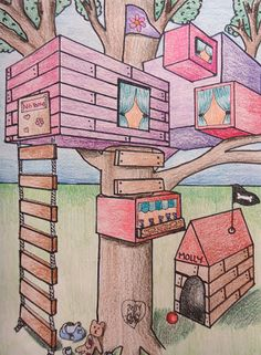 Mini Matisse: Student Samples of the Two Point Perspective Tree House