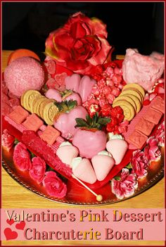 This pretty in pink dessert charcuterie board is perfect for kids with a sweet tooth celebrating Valentine's Day or even girlfriends who enjoy colorful treats to honor Galentine's Day! Assembled in minutes and devoured just as fast, this dessert is the ultimate Valentine's pink treat! #helpingcookies Hot Chocolate Cookies, Homemade Hot Chocolate, Chocolate Bomb, Homemade Vanilla, Pink Desserts, Easy Desserts, Delicious Desserts, Dessert Recipes, Valentines Day Treats