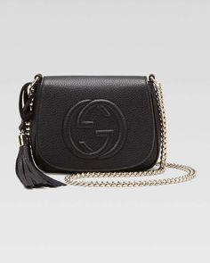 Gucci Soho Leather Chain Crossbody Bag, Black