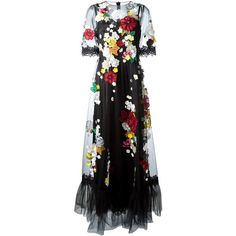 Dolce & Gabbana embroidered flower tulle gown (€6.810) ❤ liked on Polyvore featuring dresses, gowns, gown, long dresses, dolce & gabbana, black, long ball gowns, long evening dresses, see-through dresses and sheer dress