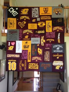 Central Michigan University t-shirt quilt