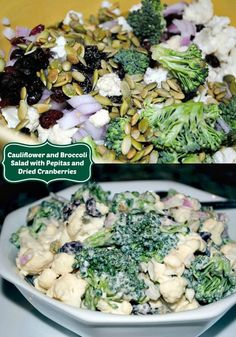 This fresh and crunchy cauliflower and broccoli salad is perfect for barbecues with its creamy dressing, pepitas and chewy cranberries.