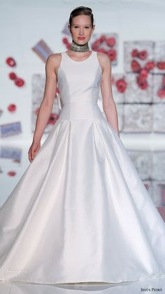 jesus peiro bridal 2017 sleeveless straps jewel neck aline wedding dress (19) mv