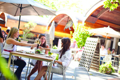 Wine tasting on Domaine Chandon's patio in Napa