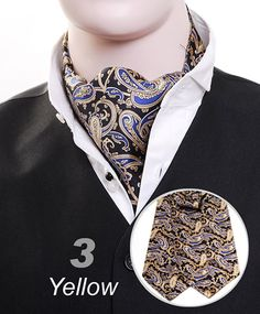 "This ascot might as well be a bib because I am DROOOOLING!!!   From site:   ""Ascot and finished in gorgeous paisley pattern in black tie with a soothing base. Casual and formal support in a variety of situations.""  (Sexy broken English sells it.)"
