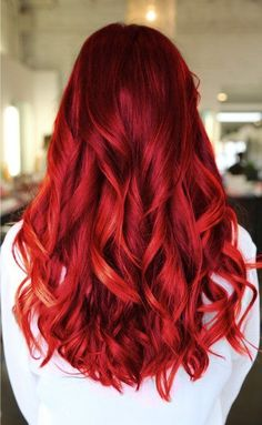 Cherry red hair with soft burgundy tones