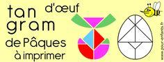 tangram d'oeuf de Pâques à imprimer fiche d'activité maternelles élémentaire gratuit.