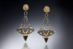 Earrings: 22k, 18k, oxidized sterling and fine silver, black druzy quartz