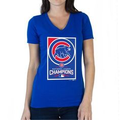 568f5a9917e Chicago Cubs SustainU Women s 2016 National League Champions V-Neck T-Shirt  - Royal