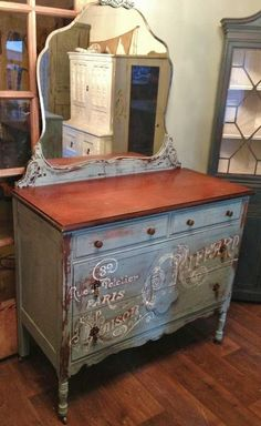 French Graphic Image Dresser Milk Paint Distressed Shabby Antique