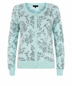 Turquoise (Blue) Mint Green Bird Floral Print Cardigan | 300581048 | New Look