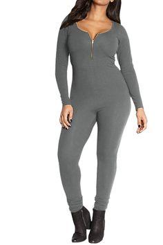 268bf5d52bc7 Women Black Long Sleeve Zipper Front Bodycon Jumpsuit Romper - Grey -  CC1888HXHK0