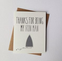 Anniversary Card. Wife to Husband Father's Day Card. For Him Birthday Card. Thanks For Being My Iron Man.