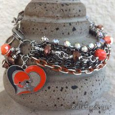Cleveland Browns Football Multichain, rhinestones and crystals NFL charm bracelet by alliefayedesigns on Etsy