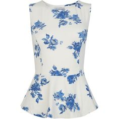 Petite Blue Floral Peplum Shell Top found on Polyvore
