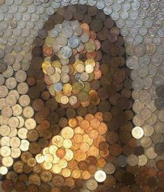 Mona Lisa remade in coins - photo from The Berry    ...by ?...